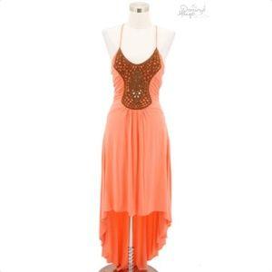 A11 SKY Designer Dress Size Large Orange Halter